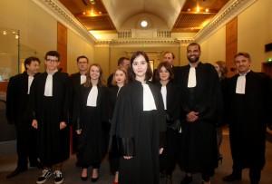 Concours d'éloquence des étudiants en droit, au tribunal d'Angoulême (au centre,Lise Barbarin la lauréate).  Photo ©Anne Kerjean