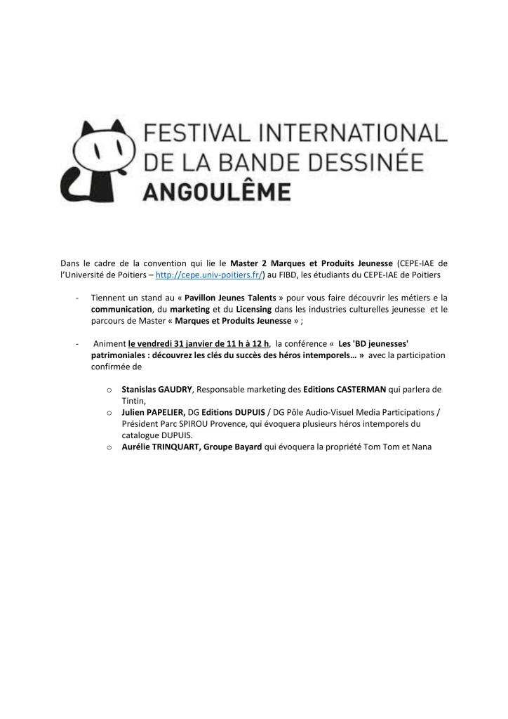 Conférence FIBD Pavillon Jeues Talents Master 2 Marques et Produits Jeunesse